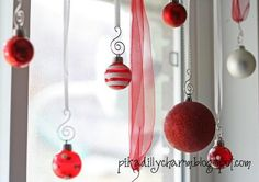 Christmas window decor. Hang on tension rod inside the window frame.