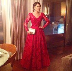 Sandro Barros vestido de festa vermelho princesa