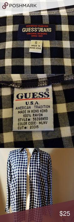 """GUESS JEANS PLAID SHIRT Perfect condition no flaws/imperfections.  100% Rayon Pit to Pit 22"""" Shoulder to hem 28 Guess Tops Button Down Shirts"""