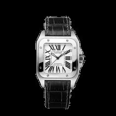 Santos 100 watch, medium model - Timepieces Automatic, steel - Fine Timepieces for men and for women - Cartier