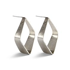 """Grand Entry Earrings - Sterling silver takes a sophisticated turn in these textured ribbons in striking geometrics. Post backs, 1.38""""L. Made in Mexico. https://www.morinda.com/3764125/en-us/shop/3795999#product&pid=3796407"""