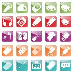 Phone and Computer Accessories Icon Set