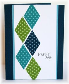handmade card ... clean and simple design ... column of diamonds punched from polka dot papers ... like the look of a central band of paper going top to bottom instead of making a rectangle focal point ...