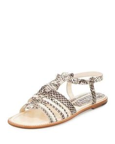 Canale Snakeskin Caged Flat Sandal, Natural