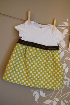 Onesie Dress. This would be great for Lydia's birthday and I could applique the onesie