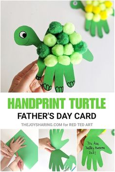 Turtle Handprint Father's Day Card - how cute is thise handprint Father's Day craft for preschoolers? Love it!