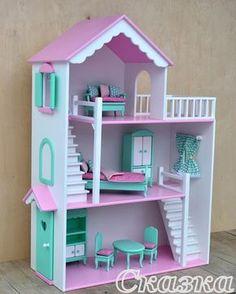 """Мятно-розовый кукольный домик для маленькой принцессы! Комплект мебели """"Премиум"""" с фигурными ножками , ставни на окошках и дверка отправился в г. Краснодар #кукольныйдомик #кукольныйдом #кукольнаямебель #инстамама #инстадети #инстамама_новосибирска #длядочки #сказка #новосибирск"""