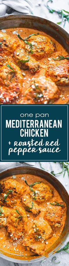 One Pan Mediterranean Chicken in Roasted Red Pepper Saue | http://lecremedelacrumb.com