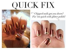 Use glitter polish to disguise chipped nails. | 19 Charts That Totally Explain How To Give Yourself A Manicure