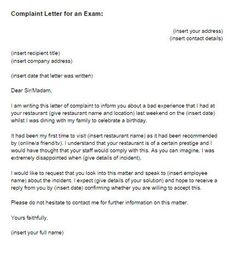 Free Formal Letter Of Complaint Example English Resume Letter