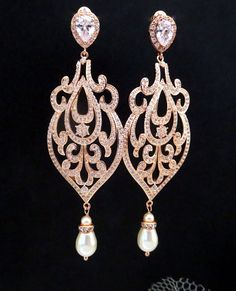 Rose Gold Bridal Earrings Crystal Wedding Earrings by treasures570