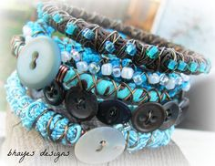 Turquoise Blue and Brown Boho Bracelets by brendalou2 on Etsy, $40.00