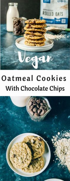 Classic vegan oatmeal cookies get a sweet twist, with loads of chocolate chips, crispy edges and no chilling time required!