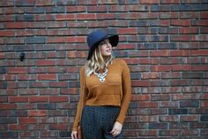 Fall Fashion - Crop Top,  + High Waisted Floral Pants + Statement Necklace + Wide Brimmed Hat