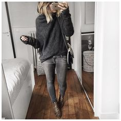 grey style   Grey black skinny jeans with grey sweater jumper
