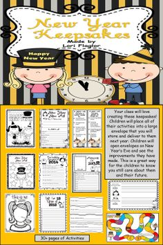 Start a new tradition for New Year's. This has 30+ pages of activities for the New Year. Place all the activities in a large envelope for each child, store the envelopes until next December.  Next, deliver the envelopes to their current teachers to pass out. Let the children know you still care about them!