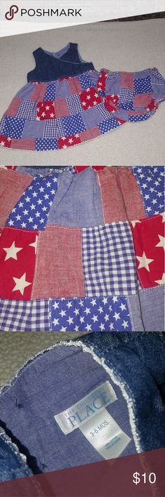 Children's Place Patchwork 4th of July Dress Adorable sleeveless patchwork and denim dress by Children's Place. Patchwork is a mixture of 4th of July themes and colors. Top is denim and buttons down back. Also comes with bloomers. EUC! 3/6 months. Children's Place Dresses Casual