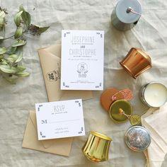 black and white letterpress wedding invite | Smitten on Paper