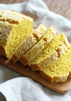 Easy 1 Bowl Coconut Turmeric Bread. Soft and Delicious 1 Bowl Golden Lemon Coconut loaf. No added oil in this cake. #Vegan #Nutfree Soyfree #Oilfree #Recipe. #veganricha | VeganRicha.com
