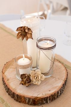 Rustic wedding decor candle centerpiece - A Rustic Nature Inspired Wedding Rustic Centerpieces, Wedding Centerpieces, Wedding Table, Fall Wedding, Rustic Wedding, Wedding Decorations, Centerpieces For Coffee Table, Indoor Wedding, Centerpiece Ideas