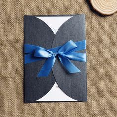 dazzling blue ribbon and gray pocket vintage wedding invitations EWPI098 as low as $1.69