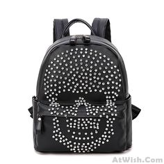 Wow~ Awesome Fashion Punk Original Diamond Rivet Skull Black Satchel Backpack! It only $59.99 at www.AtWish.com! I like it so much<3<3!