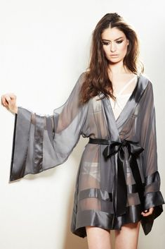 Peyton Kimono by Nicole Gill — An absolutly breathtaking kimono made from sheer silk. Peyton Kimono par Nicole Gill – Un kimono à couper le souffle en soie pure. Belle Lingerie, Pretty Lingerie, Sheer Lingerie, Beautiful Lingerie, Lingerie Sleepwear, Lingerie Set, Nightwear, Ropa Interior Boxers, Ropa Interior Babydoll