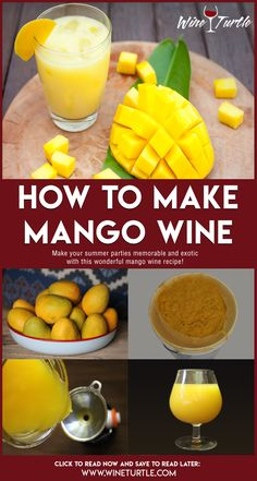 To truly enjoy a glass of sunshine, you need a wonderful mango wine. Mangoes themselves have a naturally sweet flavor. Homemade Wine Recipes, Homemade Alcohol, Homemade Liquor, Beer Recipes, Fruit Recipes, Juice Recipes, Homemade Wine Making, Making Wine At Home, Fireball Recipes