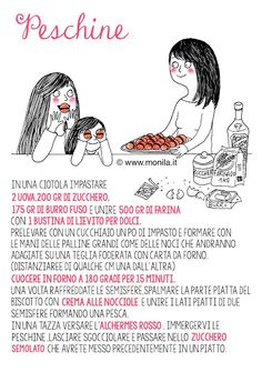 Monila ,Monila handmade,illustrazione,i ghirigori di Monila,ricette illustrate, ricetta,peschine