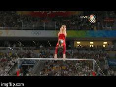 Shawn Johnson gif. 2008 Olympics All Around Uneven Bars dismount #gymnastics