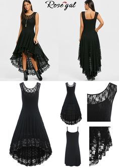 346cfc602af Up to 44% off. Free shipping worldwide.Tiered Lace High Low Dress - Black.  lace  lacedress  dresses  womens  fashionillustration  styleinspiration   rosegal
