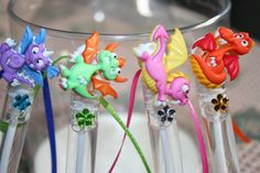 Adorable & Fun. This Collection of Colorful Dragon Bubble Wands are accented in bright coordinating shades of satin ribbon and color rhinestone design on tube front. This is for a set of 12 decorated bubble wands- with three each dragon shown. ~~Perfect for the Dragon Themed Birthday Party Favor!~~ Wands are approx. 4 inches long. Exclusive TRIZIART design. Please contact us if you need a larger or smaller quantity and we would be glad to accommodate if possible. We are a Smoke-Free, Pet...
