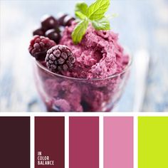 Limettengrüne Farbe macht die Kombination aus Tönen von Brombeeren und Brombee… Lime green color makes the combination of tones of blackberry and blackberry ice, purple and creamy pink spatial. This color combination is suitable for d. Blackberry Ice Cream, Raspberry, Colour Schemes, Color Combinations, Colour Palettes, Warm Colors, Green Colors, Color Lila, Pink Color