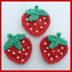 3 strawberry crochet appliques would be cute attached to hair pin stephanie close johnson warm weather crochet projects for spring Crochet Strawberry, Crochet Fruit, Crochet Food, Love Crochet, Crochet Crafts, Yarn Crafts, Crochet Flowers, Hand Crochet, Crochet Projects