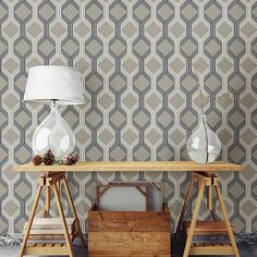 This trellis wallpaper has a nautical style with navy and white stripes that create a net-like design. A warm grey taupe background softens the bold print.  2697-78053 - Linkage Navy Trellis - by A - Street Prints