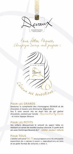 """Fetez Paques chez Champagne Devaux!  Dégustations surprenantes champagnes et chocolats, création de livres de recettes au toucher étonnant par les enfants et exposition de superbe petites voitures en bois, les """"caisses à savon""""."""