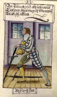 Matthäus Schwarz of Augsburg (1497-1574) Practicing at sword fighting, twenty-one and two thirds.