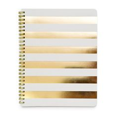 Make your work beautiful with the Cabana Stripe Notebook from Sugar Paper. It is spiral bound with bright gold foil cabana stripes and 50 lined pages.