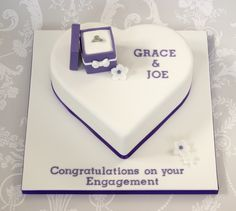 Heart Shaped Engagement Cake with Miniature Ring Box Cake