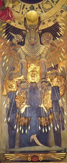 John Singer Sargent, Moloch, detail of The Pagan Gods Mural at the Boston Public Library