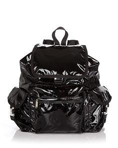 LeSportsac Voyager backpack, black patent
