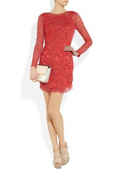 Matthew Williamson Rainbow satin and crochet-appliquéd lace dress