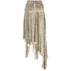 Zimmermann Folly Sequin Ruffle Skirt (3,815 CAD) ❤ liked on Polyvore featuring skirts, frilly skirt, fringe skirts, chiffon skirt, draped skirts and sequin skirt