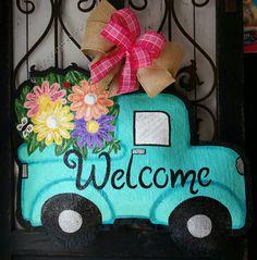 Burlap Door Hanger Adorable Vintage Style Truck Filled with Flowers  Door Decoration and Wreath Replacement