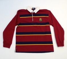 47ab67f11 Polo by Ralph Lauren Shirt Vintage Burgundy and Blue Stripe Rugby Long  Sleeve RLP Logo Collared Shirt 1990s Preppy Kids Boys Size 20 XL