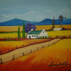 Farm house blue mountains by Annabelle - South African Artist African Art Paintings, Paintings I Love, African Art For Kids, Art Is Dead, Farmhouse Paintings, South African Artists, Naive Art, Pictures To Paint, Artist Painting