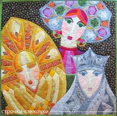 """""""Three Princesses of the Underworld"""" patchwork quilt by Natalia Muraveva (Russia).  Inspired by a Russian fairy tale."""