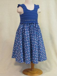 Baby dress with crochet bodice royal blue & by FeathersnFrocks