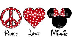 Peace Love Minnie Printable DIY Disney Iron by mrjoesprintables Disney Diy, Disney Crafts, Disney Love, Disney Magic, Disney Pixar, Disney Ears, Disney Bound, Disneyland Trip, Disney Vacations