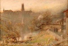 Fribourg oil painting by Albert Goodwin, The highest quality oil painting reproductions and great customer service! Pre Raphaelite Brotherhood, Royal College Of Art, Oil Painting Reproductions, Oil Paintings, Artists, Sunset, Landscape, Scenery, Landscape Paintings